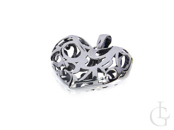 a6d00a2d1c3428 srebrne serce ażurowe na łańcuszek srebro rodowane 0.925. Serce duża  srebrna zawieszka damska na łańucszek srerbo