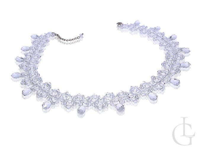 Oryginał Biżuteria ślubna naszyjnik srebrny z kryształami Swarovskiego VD07