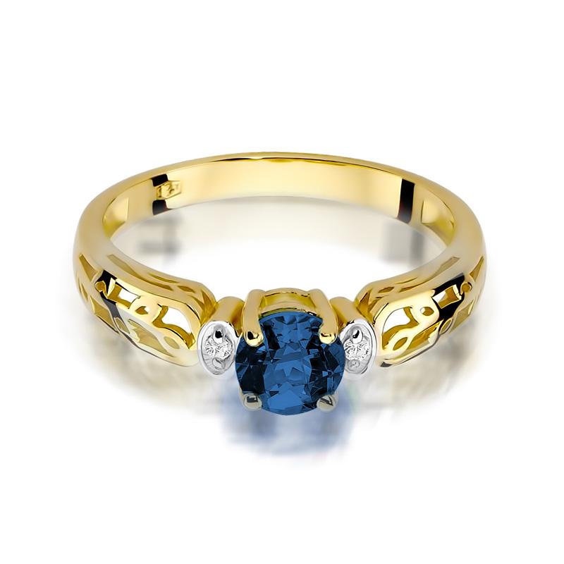 W Ultra Pierścionek zaręczynowy złoty szafir brylanty złoto żółte 0.585 MC19