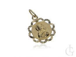 złoty medalik z Matką Boską i Dzieciątkiem Jezus medalik złoty na łańcuszek pamiątka I Komunii Świętej lub chrzest