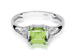 pierścionek zaręczynowy oliwin naturalny zielony kamień i brylanty diamenty złoto białe próba 0.585