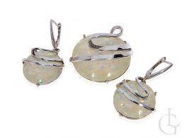 komplet biżuterii z opalem kolczyki okrągłe i wisiorek srebro próba 0.925