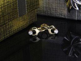 kolczyki złote wiszące z cyrkoniami złoto żółte 0.585 14k