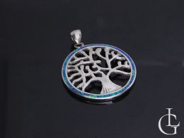 drzewko szczęścia symbol okrągła zawieszka kółko wisiorek z opalem opal niebieski na łańcuszek