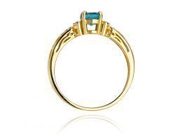 złoty pierścionek zaręczynowy brylanty i topaz naturalny diamenty pierścionek na palcu realne zdjęcie zdjęcia prezent