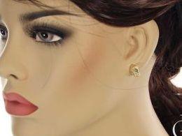 kolczyki złote złoto żółte 14k 0.585 diamentowane angielskie zapięcie realne zdjęcia na modelce uchu kolczyki złote na prezent dla żony dziewczyny urodziny imieniny rocznicę pakowanie na prezent