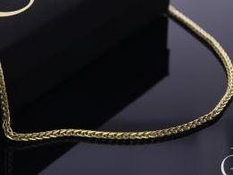 łańcuszek złoty splot lisi ogon złoto 585 14K damski męski pancerka i na prezent do kompletu łańcuszki srebrne damskie męskie realne zdjęcia na modelce szyi łańcuszek złoty na prezent na urodziny imieniny chrzciny rocznicę komunię walentynki pod choinkę n