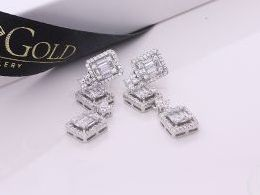 kolczyki srebrne wiszące cyrkonie sztyft srebro realne zdjęcia na modelce uchu kolczyki srebrne na prezent dla żony dziewczyny urodziny imieniny rocznicę pakowanie na prezent