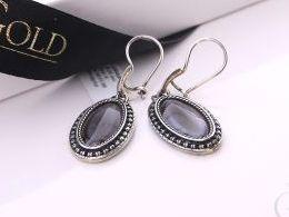 kolczyki srebrne wiszące z agatem agat srebro realne zdjęcia na modelce uchu kolczyki srebrne na prezent dla żony dziewczyny urodziny imieniny rocznicę pakowanie na prezent