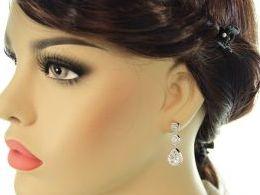 kolczyki srebrne wiszące z cyrkoniami srebro realne zdjęcia na modelce uchu kolczyki srebrne na prezent dla żony dziewczyny urodziny imieniny rocznicę pakowanie na prezent