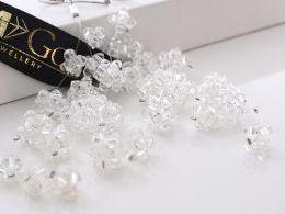 kolczyki srebrne swarovski kryształy srebro realne zdjęcia na modelce uchu kolczyki srebrne na prezent dla żony dziewczyny urodziny imieniny rocznicę pakowanie na prezent
