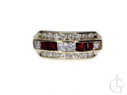 pierścionek złoty granaty cyrkonie szeroki tradycyjny złoto żółte 0.585