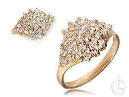 pierścionek zaręczynowy złoty  jeżyk żółte złoto próba 0.585 zaręczyny pierścionki złote cyrkonia cyrkonie klasyczne pierścionki zaręczynowe