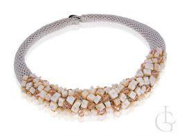 naszyjnik ręcznie wykonany Swarovski kryształy i cyrkonie sznurek rymarski