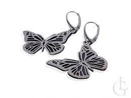 srebrne kolczyki motyle motylki wiszące angielskie zapięcie