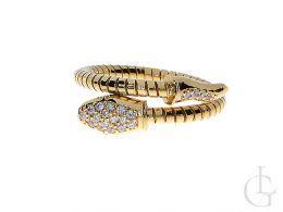pierścionek nowoczesny wąż srebro pozłacane cyrkonie