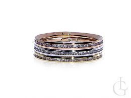 obrączka złota pierścionek cyrkonie złoto żółte, białe, różowe 14K 0.585 szeroka szyna
