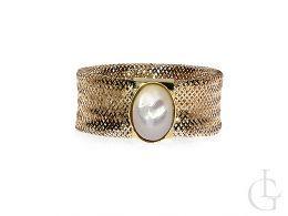pierścionek złoty nowoczesny wzór siatka złota elastyczny dopasowujący się perła kamień złoto żółte 0.585 14 karatowe biżuteria złota damska