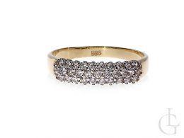 pierścionek obrączka złoty cyrkonie złoto żółte 14K 0.585