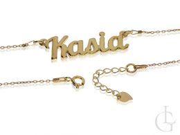 naszyjnik srebrny damski pozłacany imię Kasia srebro pozłacane regulowana długość