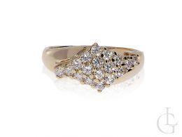 złoty pierścionek duży szeroki zaręczynowy cyrkonie szeroka szyna złoto żółte 0.585
