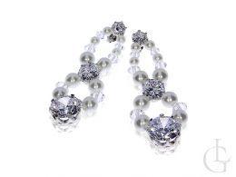 swarovski biżuteria ślubna wieczorowa kolczyki srebrne kryształy perły srebro 0.925 sztyft wkrętki zapięcie