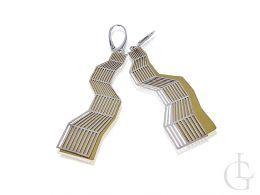 kolczyki srebrne geometryczny wzór srebro pozłacane angielskie zapięcie srebro próba 0.925