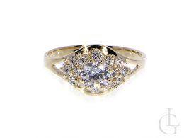 zaręczynowy pierścionek duży złoty złoto żółte 0.585 14K cyrkonie pierścionki zaręczynowe wzory nowoczesne tradycyjne