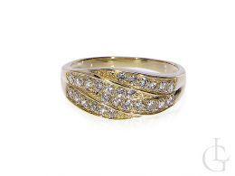 pierścionek tradycyjne szeroki cyrkonie nowoczesny wzór złoto żółte 14ct próba 0.585