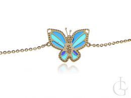 bransoletka celebrtyka łańcuszek motyl przywieszka szkło wenecki złoto żółte 14K próba 0.585