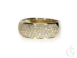 złoty pierścionek duży szeroki nowoczesny wzór złoto żółte cyrkonie szeroka szyna próba 0.585 nowoczesne duże pierścionki złote