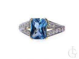 pierścionek złoty zaręczyny szeroki duży topaz niebieski kamień, cyrkonie złoto żółte 14K 0.585