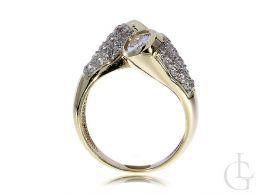 nowoczesny pierścionek złoty zawijany duży szeroki cyrkonie złoto żółte 0.585 14K