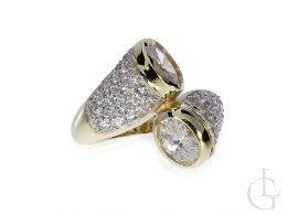 nowoczesny pierścionek złoty nowe wzory pierścionek zawijany duży szeroki cyrkonie złoto żółte 0.585 14K