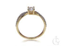 pierścionek zaręczynowy złoty żółte złoto próba 0.585 zaręczyny pierścionki złote cyrkonia cyrkonie klasyczne pierścionki zaręczynowe