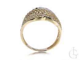 złoty pierścionek duży szeroki nowoczesny wzór złoto żółte złoto białe próba 0.585 nowoczesne duże pierścionki złote