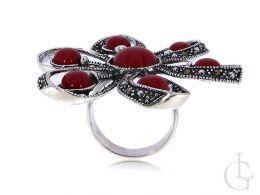 duży pierścionek srebrny oksydowany koral markazyty kwiatek srebro 0.925