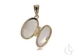 puzderko złoty wisiorek otwierany owalny na zdjęcie złoto żółte 0.585