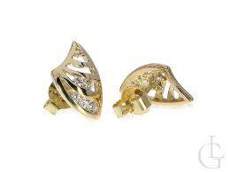 Złote kolczyki z cyrkoniami zapięcie sztyft złoto żółte 14k 585