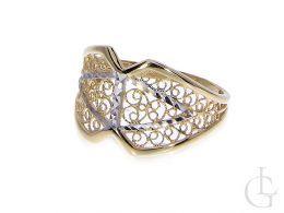 złoty pierścionek szeroki szeroka szyna złoto żółte złoto białe 14K próba 0.585 nowe wzory, nowoczesne, nietypowe wzory pierścionków złotych