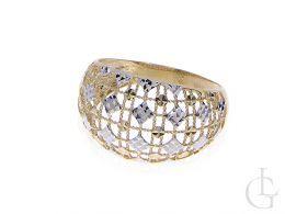 pierścionek złoty duży i gruby ażurowy złoto żółte i białe