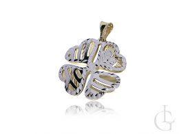 czterolistna koniczyna złoty wisiorek na łańcuszek złoto żółte 0.585