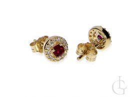 Kolczyki złote okrągłe rubin zapięcie sztyft złoto 585