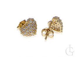 Złote kolczyki serduszka Walentynki serca cyrkonie złoto 585 14K