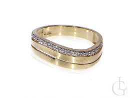 złoty pierścionek damski nowoczesny wzór brylanty złoto żółte 0.585 14 karatowe biżuteria złota damska