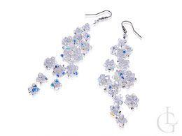 biżuteria ślubna wieczorowa swarovski kolczyki srebrne kryształy  srebro 0.925 otwarte zapięcie