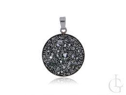 komplet biżuterii srebrnej Swarovski kryształy kolczyki wiszące wisiorek na łańcuszek srebro 0.925