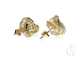 Złote kolczyki siatka zapięcie sztyft złoto żółte 585