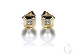 kolczyki złote perły cyrkonie zapięcie wkrętki złoto żółte