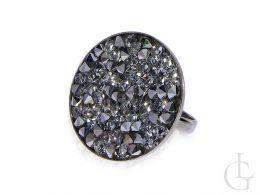 pierścionek srebrny okrągła korona kryształy Swarovski grafit srebro 0.925